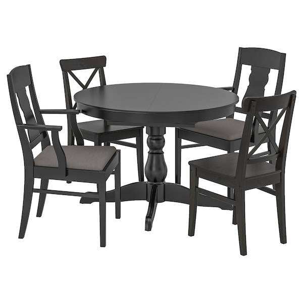 INGATORP / INGOLF table and 4 chairs black/Nolhaga grey/beige 110 cm 155 cm 87 cm 74 cm