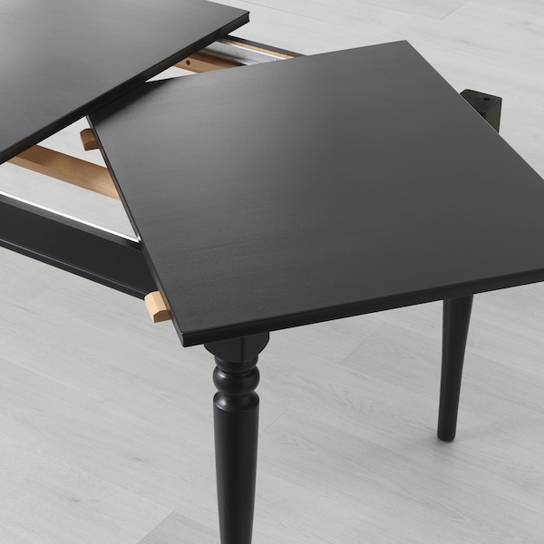 INGATORP / INGOLF table and 4 chairs black/brown-black 155 cm 215 cm