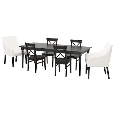 INGATORP / INGOLF Table and 6 chairs, black/Inseros white, 155/215x87 cm