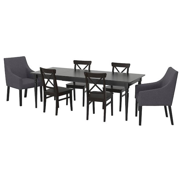 INGATORP / INGOLF table and 6 chairs black/Sporda dark grey 155 cm 215 cm 87 cm