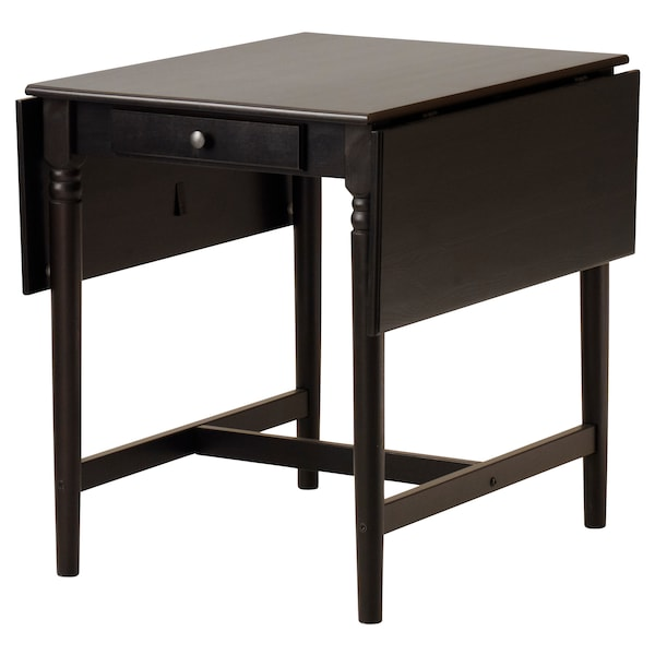 INGATORP / STEFAN table and 2 chairs black-brown/brown-black 155 cm 74 cm 65 cm
