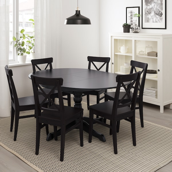 INGATORP table and 4 chairs black/brown-black 155 cm 74 cm 110 cm