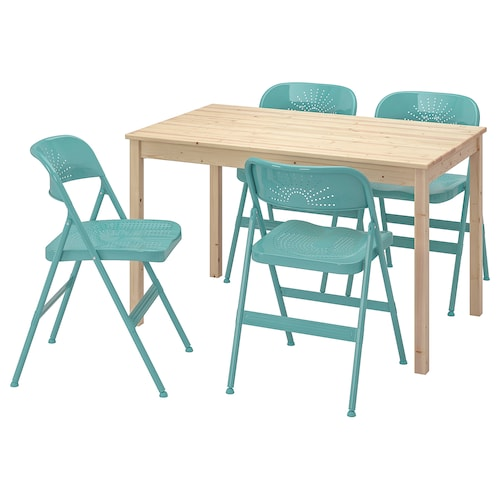 INGO / FRODE Table and 4 chairs, pine/turquoise, 120 cm