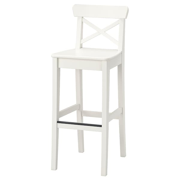 INGOLF bar stool with backrest white 110 kg 40 cm 46 cm 102 cm 40 cm 35 cm 74 cm