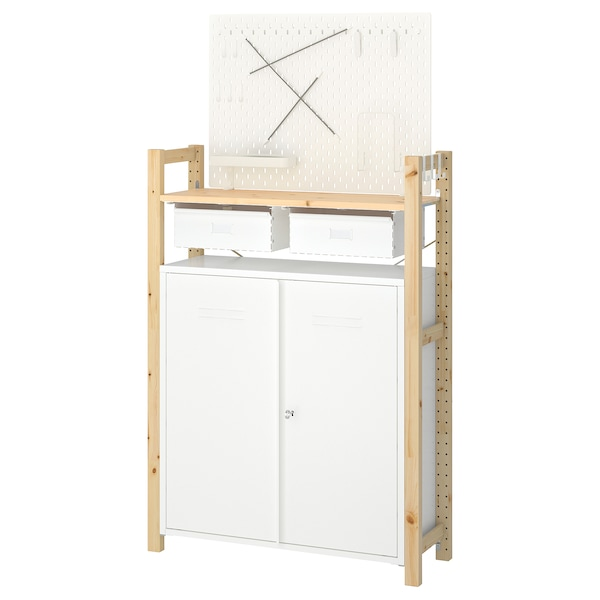 IVAR 1 section/shelves/cabinet pine white 89 cm 30 cm 124 cm