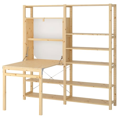 IVAR 2 sec/storage unit w foldable table pine 175 cm 179 cm 30 cm 104 cm