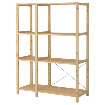 IVAR 2 sections/shelves, pine, 134x50x179 cm