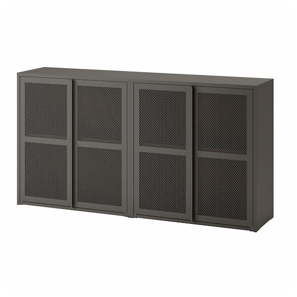 IVAR Cabinet with doors, grey mesh, 160x30x83 cm
