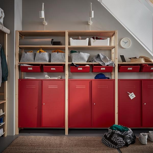 IVAR Cabinet with doors, red, 80x83 cm