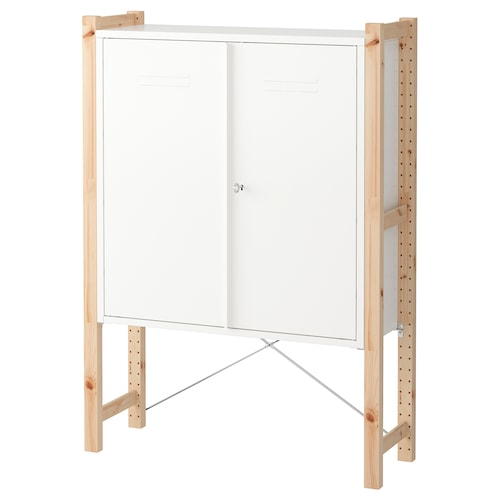 IVAR cabinet with doors pine/white 89 cm 30 cm 124 cm