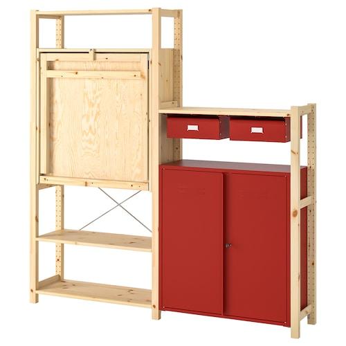 IVAR shelv unit w table/cabinets/drawers pine/red 175 cm 179 cm 30 cm 104 cm