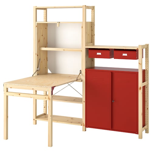 IVAR shelv unit w table/cabinets/drawers pine/red 175 cm 179 cm 30 cm 104 cm