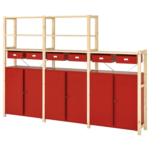 IVAR shelving unit w cabinets/drawers pine/red 259 cm 30 cm 179 cm
