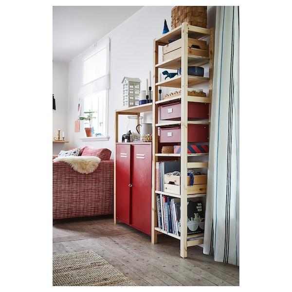 IVAR shelving unit w cabinets/drawers pine/red 134 cm 30 cm 179 cm