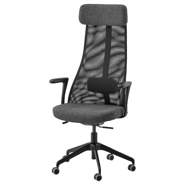 JÄRVFJÄLLET office chair with armrests Gunnared dark grey/black 110 kg 68 cm 68 cm 140 cm 52 cm 46 cm 45 cm 56 cm