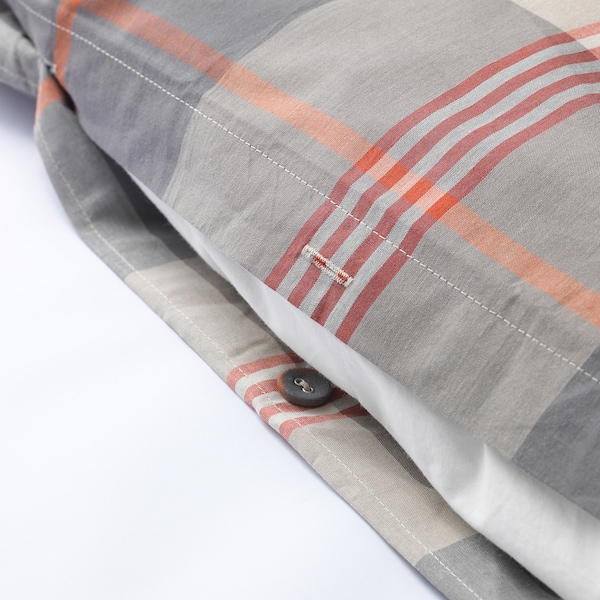 JAKOBINIA Quilt cover and pillowcase, beige check, 150x200/50x80 cm