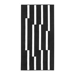 JÖRSBY rug, low pile, black/white
