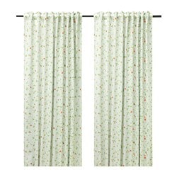 JUNETTE block-out curtains, 1 pair, light beige, small flowers