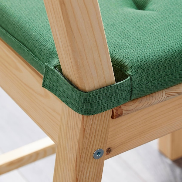 JUSTINA Chair pad, green, 35/42x40x4.0 cm