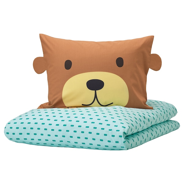 KÄPPHÄST Quilt cover and pillowcase, bear turquoise, 150x200/50x80 cm