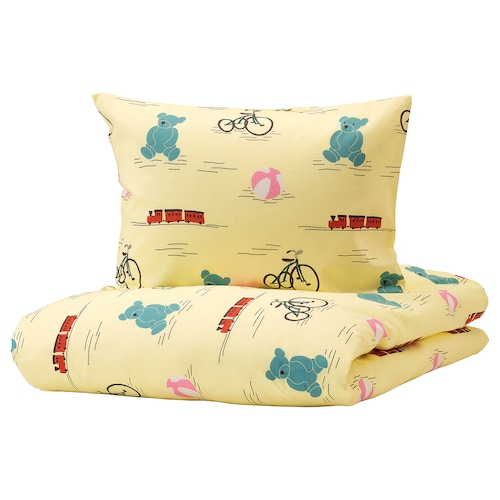 KÄPPHÄST Quilt cover and pillowcase, toys yellow, 150x200/50x80 cm