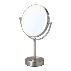 KAITUM mirror with integrated lighting, battery-operated
