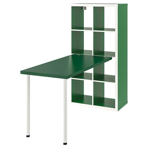 KALLAX Desk combination, white/green, 77x147x159 cm