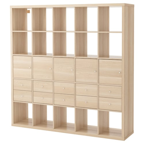 KALLAX Shelving unit with 10 inserts, white stained oak effect, 182x182 cm