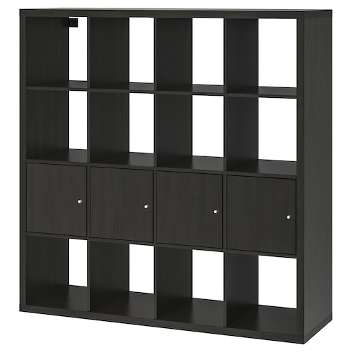 KALLAX shelving unit with 4 inserts black-brown 147 cm 39 cm 147 cm 13 kg