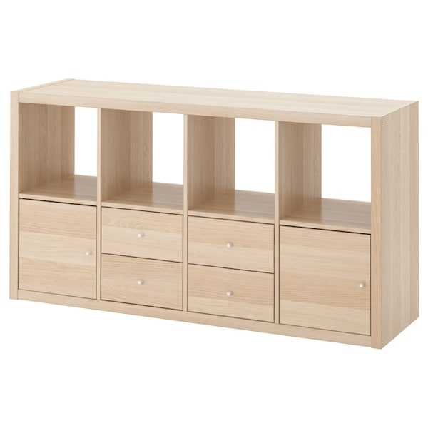 KALLAX Shelving unit with 4 inserts, white stained oak effect, 147x77 cm