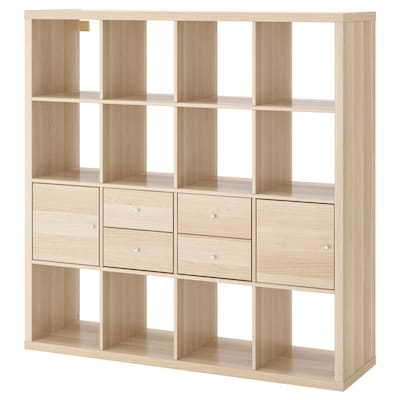 KALLAX Shelving unit with 4 inserts, white stained oak effect, 147x147 cm