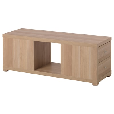 KALLAX Shelving unit with drawers, white stained oak effect, 117x44 cm