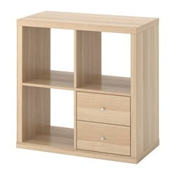 KALLAX shelving unit with drawers, white stained oak effect
