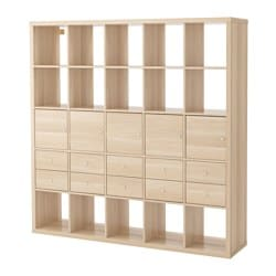 KALLAX shelving unit with 10 inserts, white stained oak effect