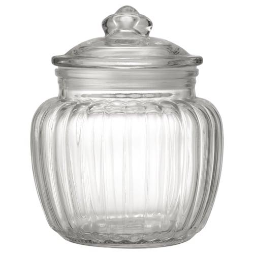 KAPPROCK Jar with lid, clear glass, 0.6 l