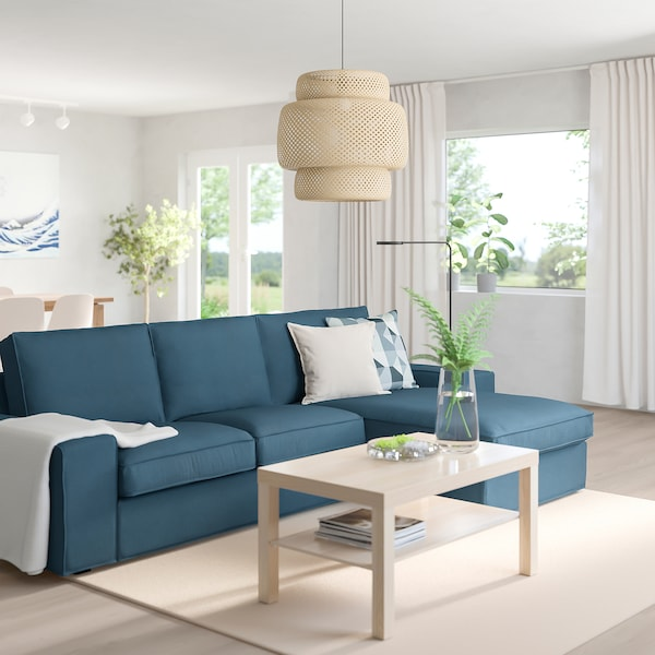 KIVIK 3-seat sofa with chaise longue/Hillared dark blue 280 cm 83 cm 95 cm 163 cm 60 cm 124 cm 45 cm
