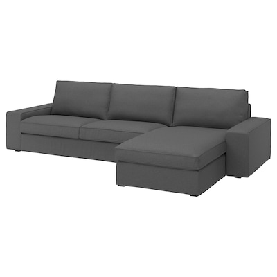 KIVIK 4-seat sofa, with chaise longue/Idekulla dark grey