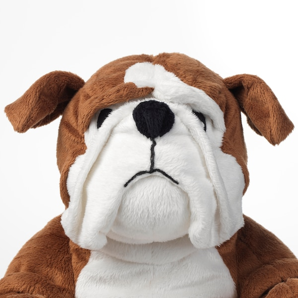 KLAPPAR soft toy bulldog brown/white