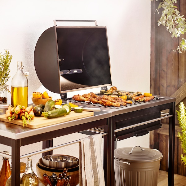 KLASEN charcoal barbecue with trolley stainless steel 144 cm 57 cm 109 cm