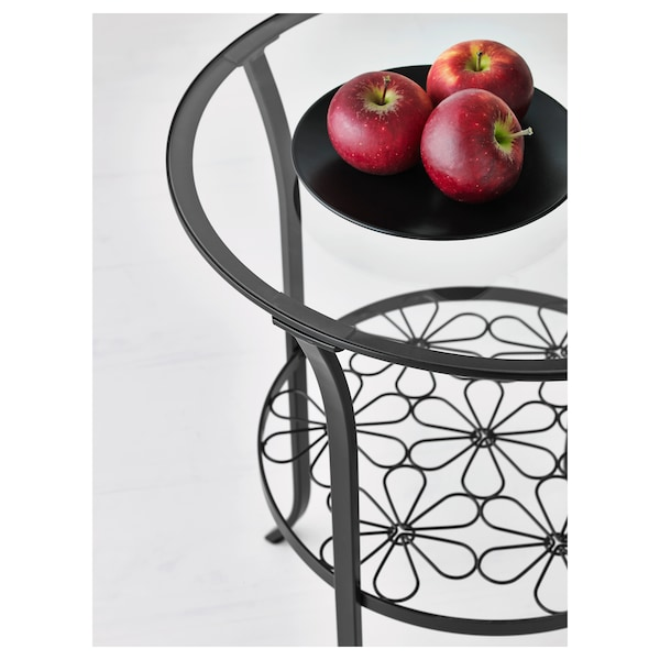 KLINGSBO side table black/clear glass 62 cm 49 cm 29 cm