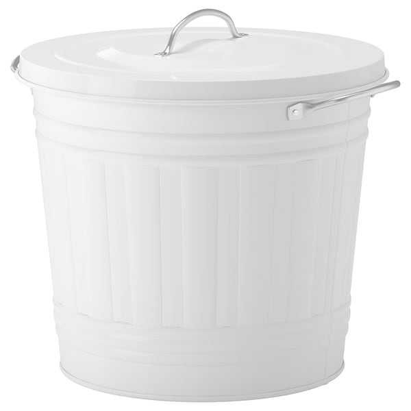 KNODD Bin with lid, white, 16 l