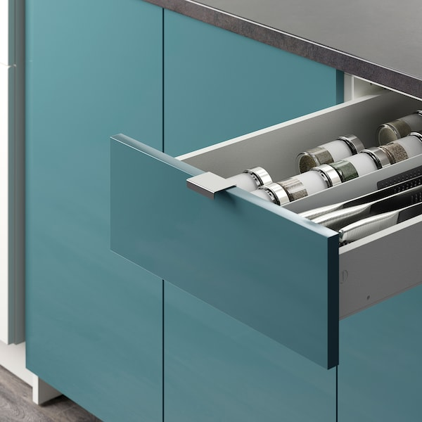 KNOXHULT Base cabinet with doors and drawer, high-gloss/blue-turquoise, 120 cm
