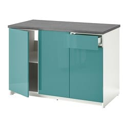 KNOXHULT base cabinet with doors and drawer, high-gloss, blue-turquoise