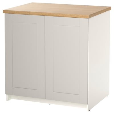 KNOXHULT Base cabinet with doors, grey, 80x85 cm