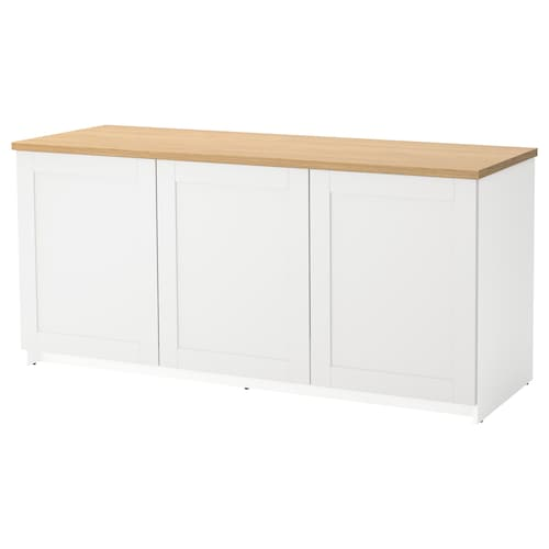 KNOXHULT Base cabinet with doors, grey, 180x85 cm