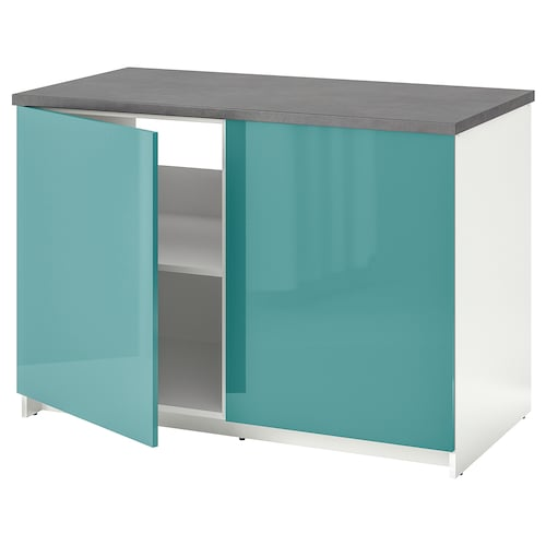 KNOXHULT Base cabinet with doors, high-gloss/blue-turquoise, 120x85 cm