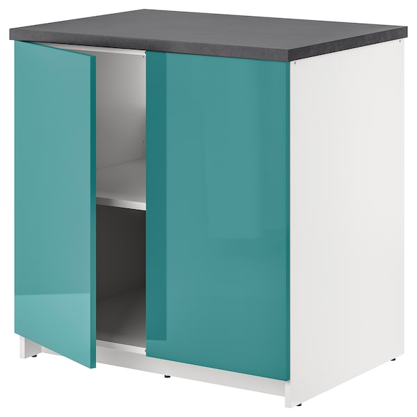 KNOXHULT Base cabinet with doors, high-gloss/blue-turquoise, 80x85 cm