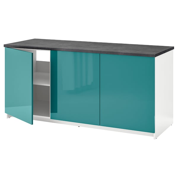 KNOXHULT Base cabinet with doors, high-gloss/blue-turquoise, 180x85 cm