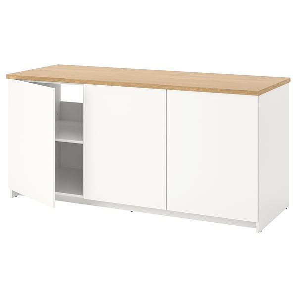 KNOXHULT Base cabinet with doors, white, 180x85 cm