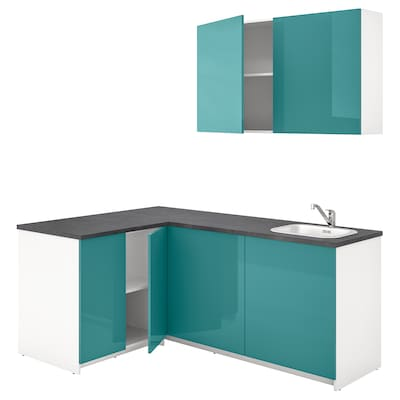 KNOXHULT Kitchen, high-gloss blue-turquoise, 182x143x220 cm